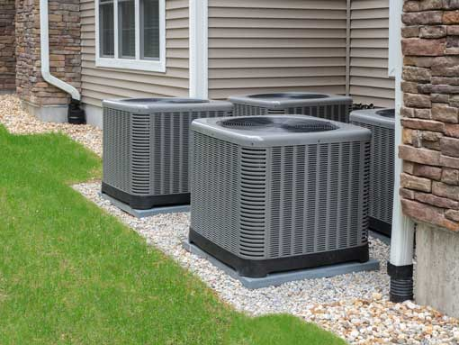 Air conditioning units installed outside of residential home